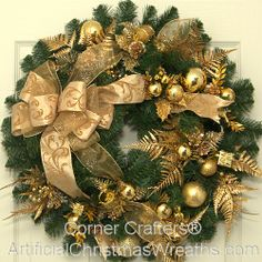 Golden Splendor Christmas Wreath - 2013 - Our Golden Splendor Christmas Wreath will add a beautiful elegant touch to any home. - #GoldenSplendor #ChristmasWreaths #ArtificialChristmasWreaths #Wreath #Christmas