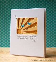 Beautiful card. Talented crafter. No way... NO WAY I would pay $30.98 (incl. shipping) just for the sunburst die cut to make this card, though.  Simon Says die cut is WAY over-priced and their customer service is not terrific. No, thank you. sun ray, window, happi, lot, die cut cards, sunray, paper secret