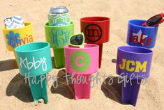 Monogrammed Beach Drink Holder Sand Spiker by happythoughtsgifts. Such a great idea!!