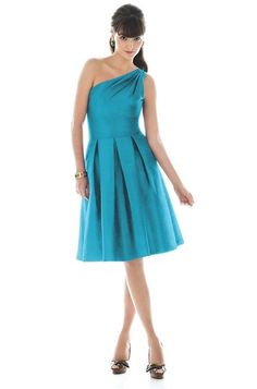 Turquoise One-Shoulder Dress.