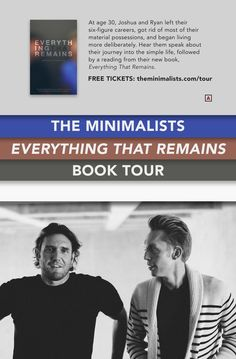 The Minimalists Everything That Remains Tour Poster