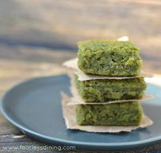 Matcha Green Tea Mochi   http://www.fearlessdining.com  #mochi #matcha #glutenfree
