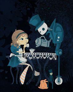 Alices Robotic Tea Party Art Print by theGorgonist on Etsy, $12.00 tea time, tea parti, robot tea, teas, parti art, art prints, alic robot