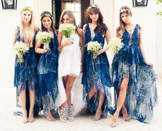 Blue and White Wedding Ideas - capri-wedding-short-dress-blue-bridesmaids