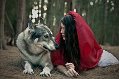 woman and wolf