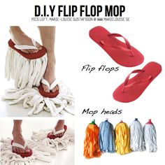 DIY Flip Flop Mops and other awesome DIY organizing ideas! Def doing this but maybe with sponges... Hmm.