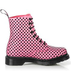Dr. Martens boots 1460 Candy Pink And Black Pascal  $125.00    Color: Candy Pink And Black Pascal  Material: Full-grain Calf Leather and Flocking    Dimensions    Heel Height: 1 inch  Shaft: 7 inch  Circumference: 11 1/2 inch  Weight: 1 lb 3 ozLeather  Eight metal eyelets.  Original air-cushioned sole provides you with underfoot comfort.  Welted construction - upper and sole are sewn together.  Original Dr. Martens stitch with grooved sidewalls. drmarten, marten boot, dr marten, marten shoe