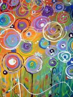 ORIGINAL Floral Circles Whimsical Colorful by TracyHallArt on Etsy.