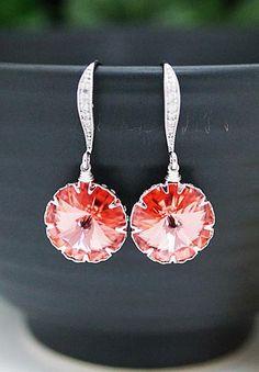 Rose Peach Swarovski Crystal Bridesmaid Earrings from EarringsNation