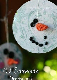CD Snowman Ornaments (happy hooligans)