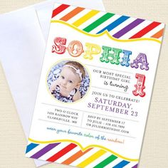 Easy to make and good-looking invitations birthday parties, rainbow invit, party invitations, birthday idea, rainbow parti, rainbow birthday, first birthdays, 1st birthdays, parti idea