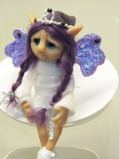 """OOAK Handmade Polymer Clay Fairie """"Unessa"""" Ooak Fantasy Art Doll RESERVED for Nicole"""