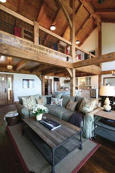 living rooms, dream homes, loft idea, cottage exposed beams, lake, hous, open loft, timber frames, expos beam