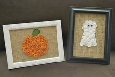Pumpkin + ghost made from buttons on burlap