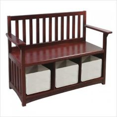 Guidecraft Classic Espresso Storage Bench with Bins Toy Box Bench $132.80 #ZoostoresPIN2WIN