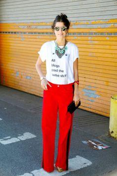 Leandra Medine from #TheManRepeller in fabulous Christopher Kane for J.Brand Trousers #NYFW SS 2013 #StreetStyle