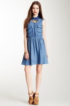 Sleeveless Chambray Mini Dress - simple, chic