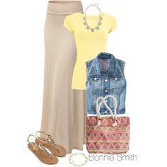 Yellow T, Beige Maxi, Denim Jacket, Gold Sandals, Patterned Bag