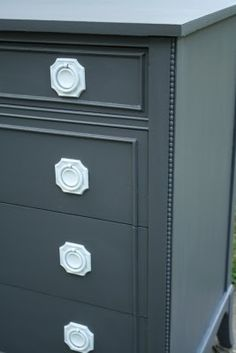 Primitive  Proper: charcoal with white painted hardware dresser