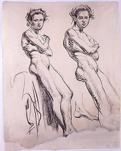 Studies of a Young Female Nude  Augustus (Edwin) John  (Tenby 1878–Fordingbridge, Hants 1961)