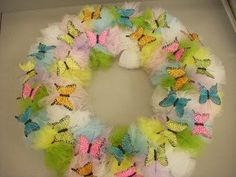 Colors of Spring Butterfly Wreath - How pretty is this DIY wreath craft from @Vicki O'Dell??