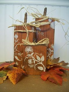 by Jenn at Crafting For My Sanity!  Wooden Pumpkins  I love her version and how the rub-ons give so much dimension!!