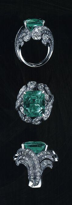 Cartier - Platinum, Diamond and Emerald Ring.