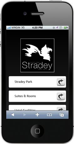 The Mobile Web App we created for www.stradeyparkhotel.com    ----BTW, Please Visit:  http://artcaffeine.imobileappsys.com