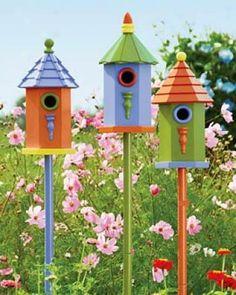 birdhouses, colorful birds, paint birdhous, gardens, bird of paradise, rainbow colors, color birdhous, small houses, bird hous