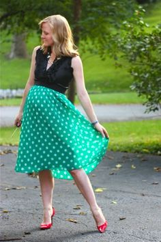 Work it: Workin' a hint of whimsey - Polka Dot skirt - Maternity Style