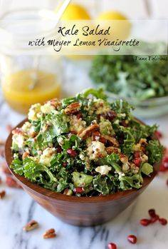 food delight, kale salad meyer lemon, lemon vinaigrett, recip, kale salad with meyer lemon