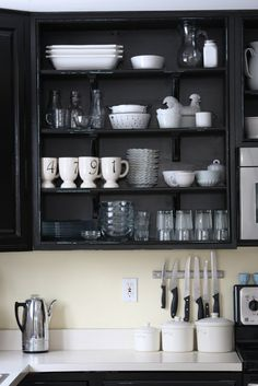 WHIMAGES: Our Painted Black Cabinets Kitchen REVEAL PARTY...not really but I got tired of promising you! cupboard, black cabinets, shelves, black white, black kitchens, door, painted cabinets, open shelving, kitchen cabinets