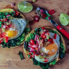 Breakfast Tostadas with Kale, Egg, and Kiwi Salsa #glutenfree