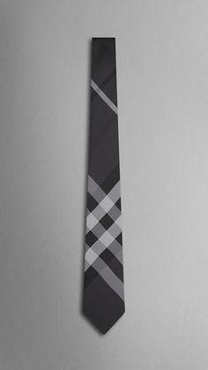 Tonal check silk tie.
