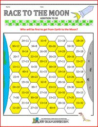 Race to the Moon - Adding to 50 a math addition game for 3rd grade and up