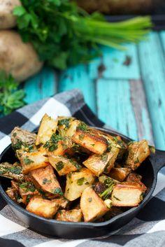 Chimichurri Roast Potatoes  - The Girl in the Little Red Kitchen – ENJI Daily #vegan #vegetarian #glutenfree