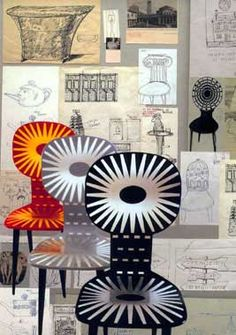 """""""Raggiera"""" (Rays) chairs1950s, reissued in color in 2001. Sketches and ideas by Piero Fornasetti, 1950-60."""
