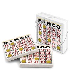We Have a Winner Bingo Card Stone Coasters, Set of 2