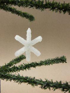 DIY borax crystal snowflake ornament