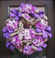 Burlap Wreaths, Summer Wreaths, Hydrangea Wreaths, Spring Wreath Burlap, Cottage Chic Wreath, Shades Of Violet arrang idea, chic wreath, hydrangea wreath, burlap wreaths, cottage chic, spring wreaths, summer wreath, housewarming gifts, cottag chic