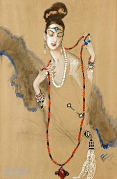 Elégante aux colliers, Jean Gabriel Domergue, 1922.