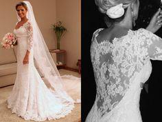 Wanda Borges lace sleeve/ lace back dress
