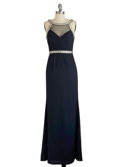 Exhilarating Essence Dress. Whats the perfect accompaniment for this elegant navy maxi dress? #blue #prom #modcloth