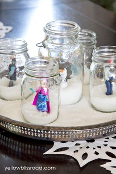 winter snow, birthday parties, snow globes, frozen parti, mason jars
