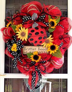 Scatter Seeds Of Kindness Mesh Wreath For Front Door