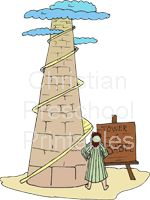 Tower of Babel coloring sheet, printable Bible verse and handwriting sheet.