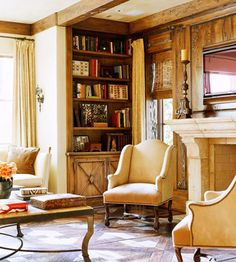 Cozy study with warm colors Stones Fireplaces, Style Decor, Fireplaces Bookcases Rustic, Rustic Style, French Country, Refined Rustic, Rustic Wood, Design, Wood Beams