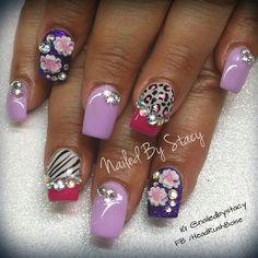 Animal Print, purple and pink by NailedByStacy - Nail Art Gallery nailartgallery.nailsmag.com by Nails Magazine www.nailsmag.com #nailart