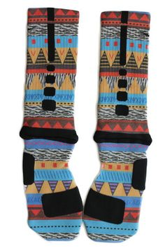 Sock Swagger | Custom Nike Elite Socks, Apparel, Nike Air Jordans, and Accessories - Custom Nike Elite Crew Basketball Socks - Tribal Edition