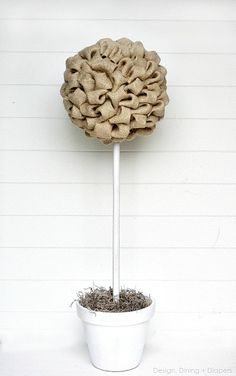 Great Turorial on How to Make Burlap Topiary Trees by Design, Dining + Diapers, diy topiary trees, burlap trees, wedding centerpiece ideas, topiary tree tutorial